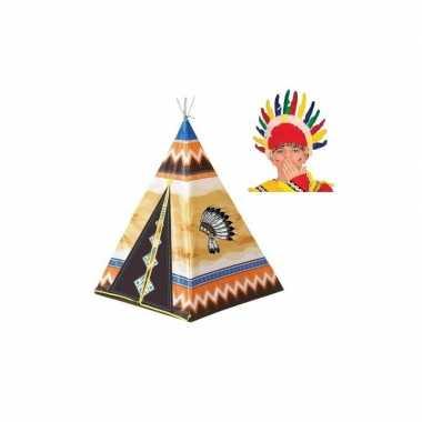 Kinder buiten speeltent indiaantent 130 cm met hoofdtooi