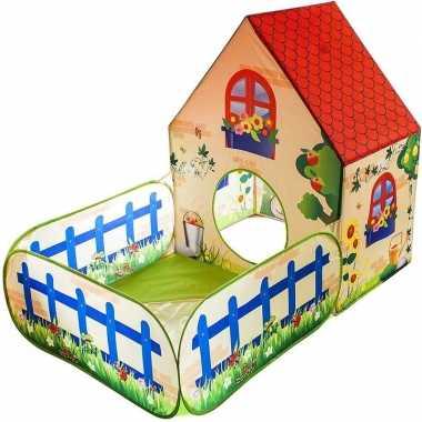 Kinder speeltent/speelhuis tuinhuis voor binnen en buiten 150 x 90 x