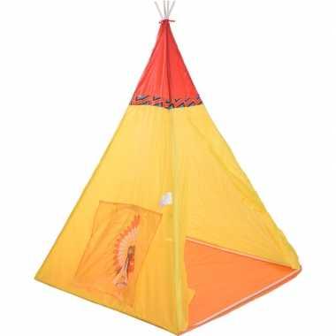 Kinder wigwam speeltent indiaan geel/rood 135 cm
